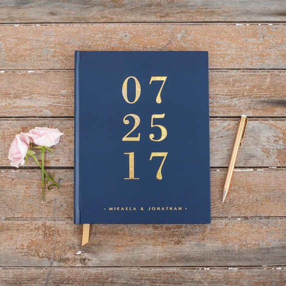 Gold Foil Wedding Guest Book Navy guestbook custom navy guest book book personalized instant photo wedding guestbook sign in hardcover new