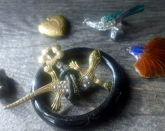 Vintage Jewelry Making Findings Supply LOT - Enamel, Marcasite, Silver, Rhinestone Locket & Pendants