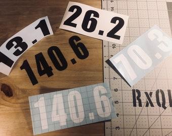 Half / Full marathon and IRONMAN triathlon 140.6 70.3 26.2 13.1 stickers car decals High Quality