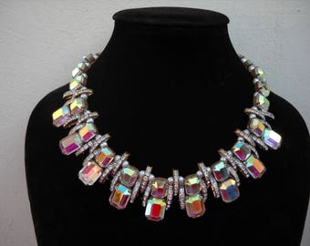 Wonderful and unique, 1950s Bohemian Crystals choker necklace, Art Deco style