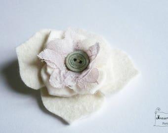 hydrangea flower hair clip felt and lace ivory
