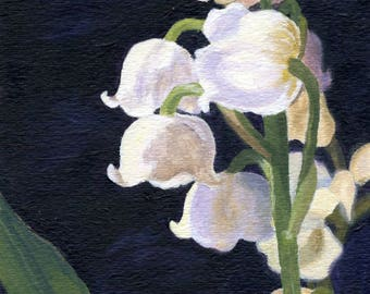 Original Acrylic painting of pretty Lily of the Valley 5 x 7