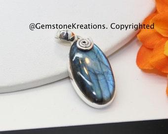 Labradorite Pendant,  Sterling Silver Pendant, Gemstone Pendant