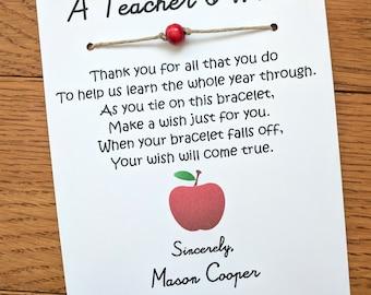 A Teacher's Wish - Wish Bracelet with a Bead - Teacher's Appreciation Gift Custom Made for You