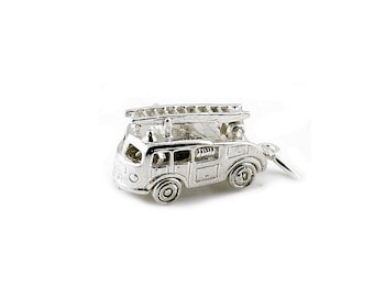 Sterling Silver Movable Fire Engine With Ladder Charm For Bracelets