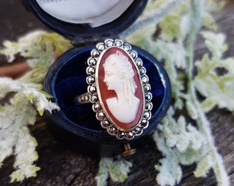Antique Edwardian Sterling Silver Large Cameo Lady and Marcasite Ring / Size O
