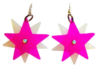 Star Bright Earrings - Pink Star Shaped PVC Earrings - Party Earrings with Silver Plated Earring Fish Hook
