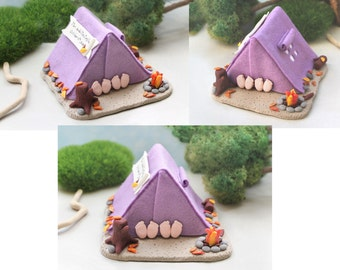 Camping tent wedding cake topper - outdoor funny cute personalized wedding gift purple hiking blue hot names date fall figurines gray green