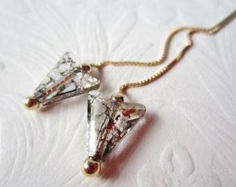 Threader Earrings-SwarovskiCrystal-Gold Patina Arrow