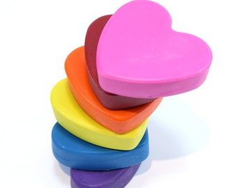 Heart Shaped Chubbie Crayon set of 6 crayons by Scribblers Crayons