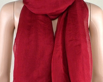 Wine red chiffon scarves, the four seasons of spring, summer, autumn and winter scarves, shawls, thin elegant, clothing accessories