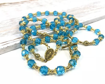 Blue and Gold Rosary Beads First Communion Gift Confirmation Gift Catholic Rosary Blue Crystal Rosary Gold Crucifix Rosary Beaded Rosary