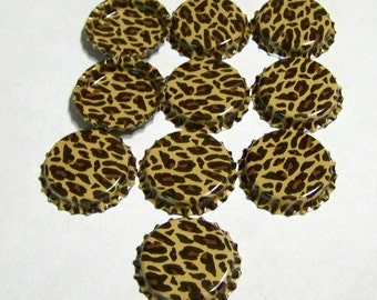 BOTTLE CAPS Cheetah Print Double Sided for Pendants, Necklaces, Jewelry