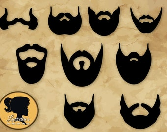 Beard silhouettes, Beard Gentleman SVG, Mustache and beard  SVG (zipped .eps .pdf .dxf .svg and .studio file)vector cutting files