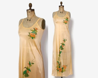 Vintage 70s Floral Print Slip Dress / 1970s Peach & Orange Morning Glory Full Length Nightgown
