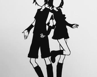 Vocaloids // Len & Rin Kagamine // twins // handcut paper art // black silhouette // miku