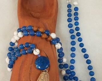 Dyed Blue Quartz, Howlite and Wood Mala