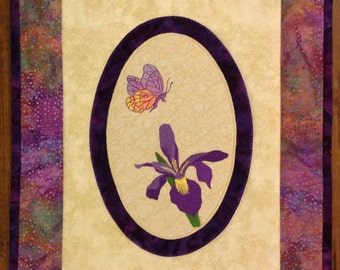 Embroidered Butterfly and Iris Wall Hanging
