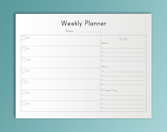 WEEKLY PLANNER Printable Letter Size  8.5 x 11 Weekly To Do PDF Undated Organizer Horizontal Calendar Weekly Schedule Instant Download.
