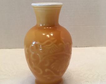 Avon Spring Bouquet  Vase ~ Yellow Orange Milk Glass Vase ~ Asian Design ~ Floral Design  ~  Shabby Chic ~ Vintage