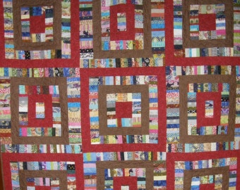 Brown and Red Squares Quilt