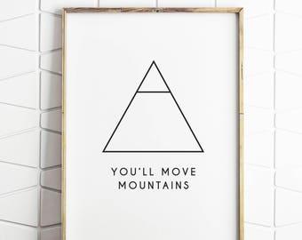 nursery decor, nursery print, nursery art, nursery poster, move mountains, modern kids art, playroom art