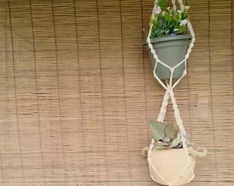 Flora Macrame Double Plant Hanger