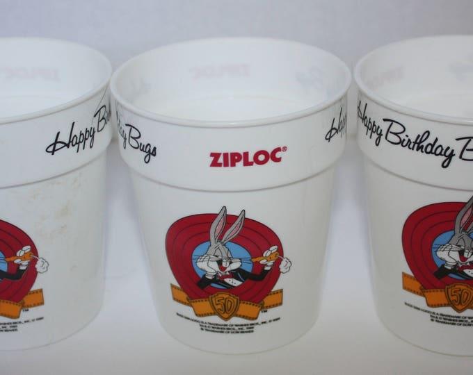 Ziploc Happy 50th Birthday Bug Bunny 1989 Promotional Cup Lot of 3 Road Runner Elmer Fudd