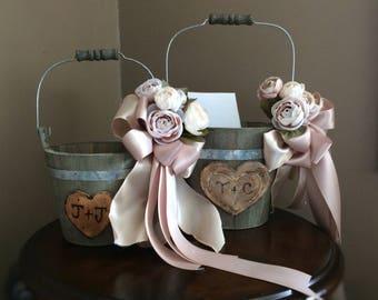 Blush Rustic flower girl basket, Flower Girl Basket, Flower girl,  Burlap Baskets Rustic, Shabby Chic Weddings- Rustic wedding set, Rustic