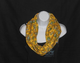 Mustard Yellow with Light Blue flowers