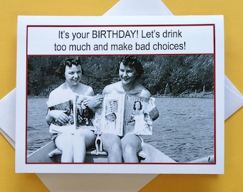 Funny Birthday Card for Friend, Funny Vintage Photo Card, Vintage Photo Card for Friend, Funny Birthday Card, Birthday Card for Friend