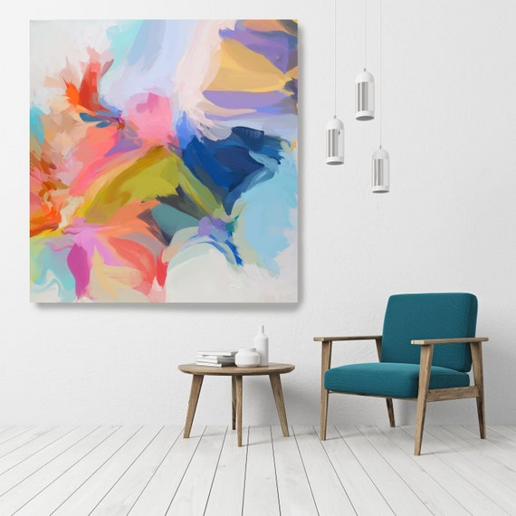 "Life Of Our Time, Art Abstract Print on Canvas up to 50"", Green Red Blue Abstract Canvas Art Print by Irena Orlov"