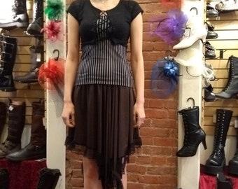 Long Asymmetrical Skirt - Brown