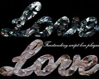 New Zealand Paua/Mussel shell embellished script 'love' plaque