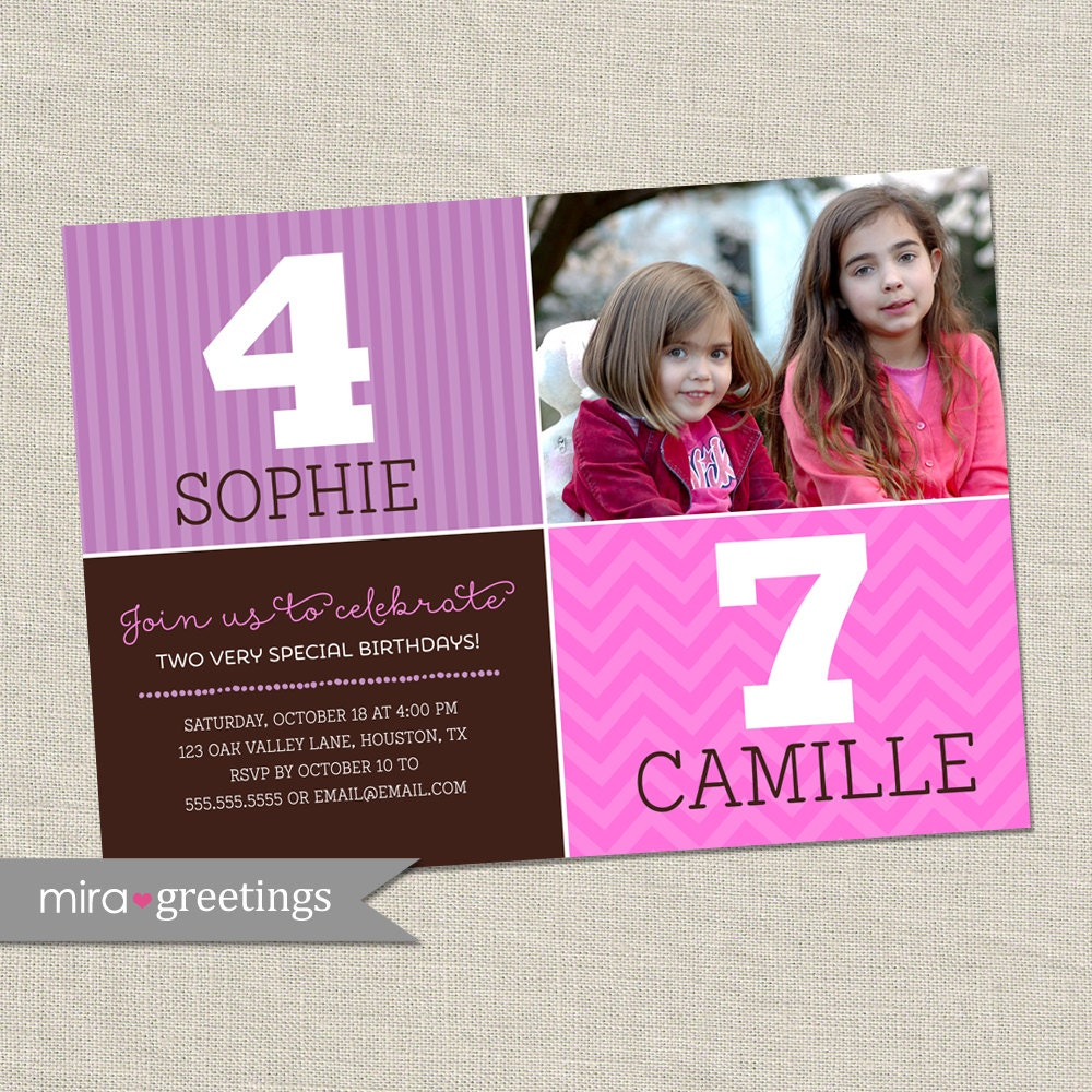 Double Birthday Party Invitation - sisters joint party invite ...