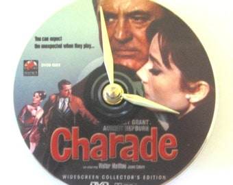 DVD clock. Charade. Movie clock. Charade clock. Movie. Audrey Hepburn. Cary Grant.