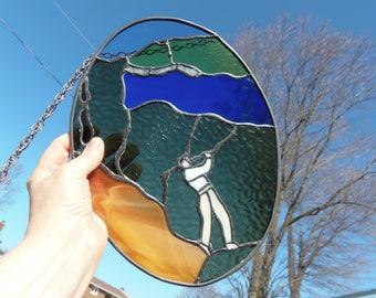 golfer gift, grand father gift, stained glass panel, sport suncatcher, window art, blue green glass, vintage stain glass, golfer decor,