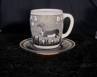 Wonderful Art Deco Cup and Saucer Signed Kerameus