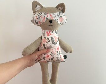 Raccoon plush , collectible plush , stuffed raccoon