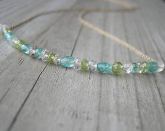 Peridot Apatite Aquamarine Crystal Quartz Gold Bar Necklace