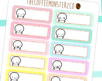 helen's fave emoti glitter labels - hand drawn emoti stickers for your planner E153