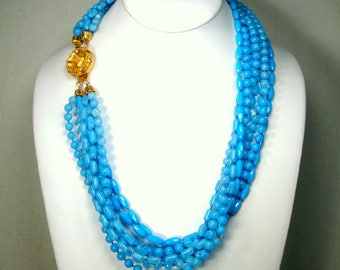 Aqua Turquoise Blue Multistrand Necklace w Focal Gold Flower Catch, 1960s Very Pleasant Blue Tones, Great for Costume