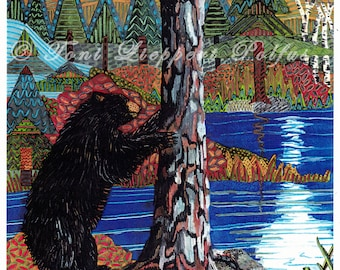Black Bear Painting, reproduction of original watercolor painting, wildlife art, bear art, lodge decor, rustic decoration, northwoods art
