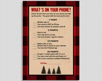 What's On Your Phone Baby Shower Game, Lumberjack Search Cell Shower Game, Red and Black Plaid Shower Game, INSTANT PRINTABLE