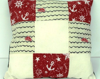 Boat on water patchwork effect cushion