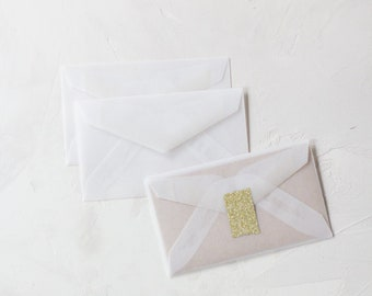 Translucent Clear White Mini Vellum Envelopes - 25 pc