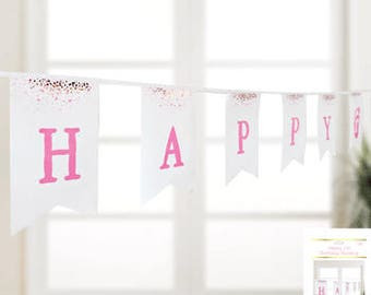 Happy 1st Birthday Bunting - girl first birthday banner - pink and white with a speckle of gold, first birthday girl