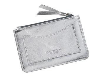 Leather metallic medium coin purse
