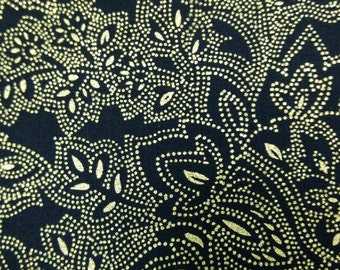 Glamourous Holiday Floral fabric. Metallic gold black leaf quilters cotton quilting Timeless Treasures 4644