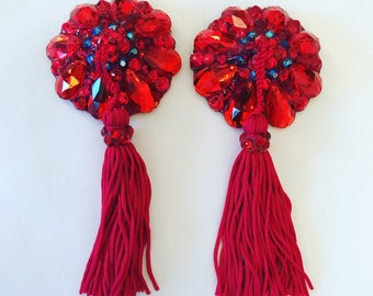 Pasties with chenille tassel, red(more colors available)
